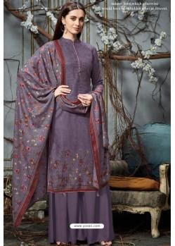 Lavender Designer Wear Pure Pashmina Jacquard Palazzo Salwar Suit