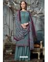 Aqua Grey Designer Wear Pure Pashmina Jacquard Palazzo Salwar Suit