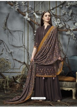 Coffee Designer Wear Pure Pashmina Jacquard Palazzo Salwar Suit