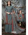 Grey Designer Wear Pure Pashmina Jacquard Palazzo Salwar Suit