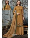 Mustard Designer Wear Pure Pashmina Jacquard Palazzo Salwar Suit