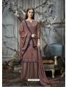 Old Rose Designer Wear Pure Pashmina Jacquard Palazzo Salwar Suit