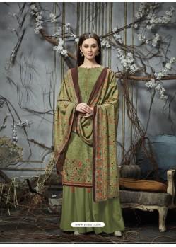Green Designer Wear Pure Pashmina Jacquard Palazzo Salwar Suit