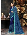 Royal Blue Party Wear Designer Georgette Embroidered Sari