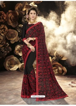 Black Party Wear Designer Georgette Embroidered Sari