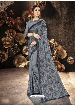 Grey Party Wear Designer Georgette Embroidered Sari