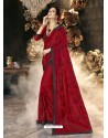 Red Party Wear Designer Georgette Embroidered Sari