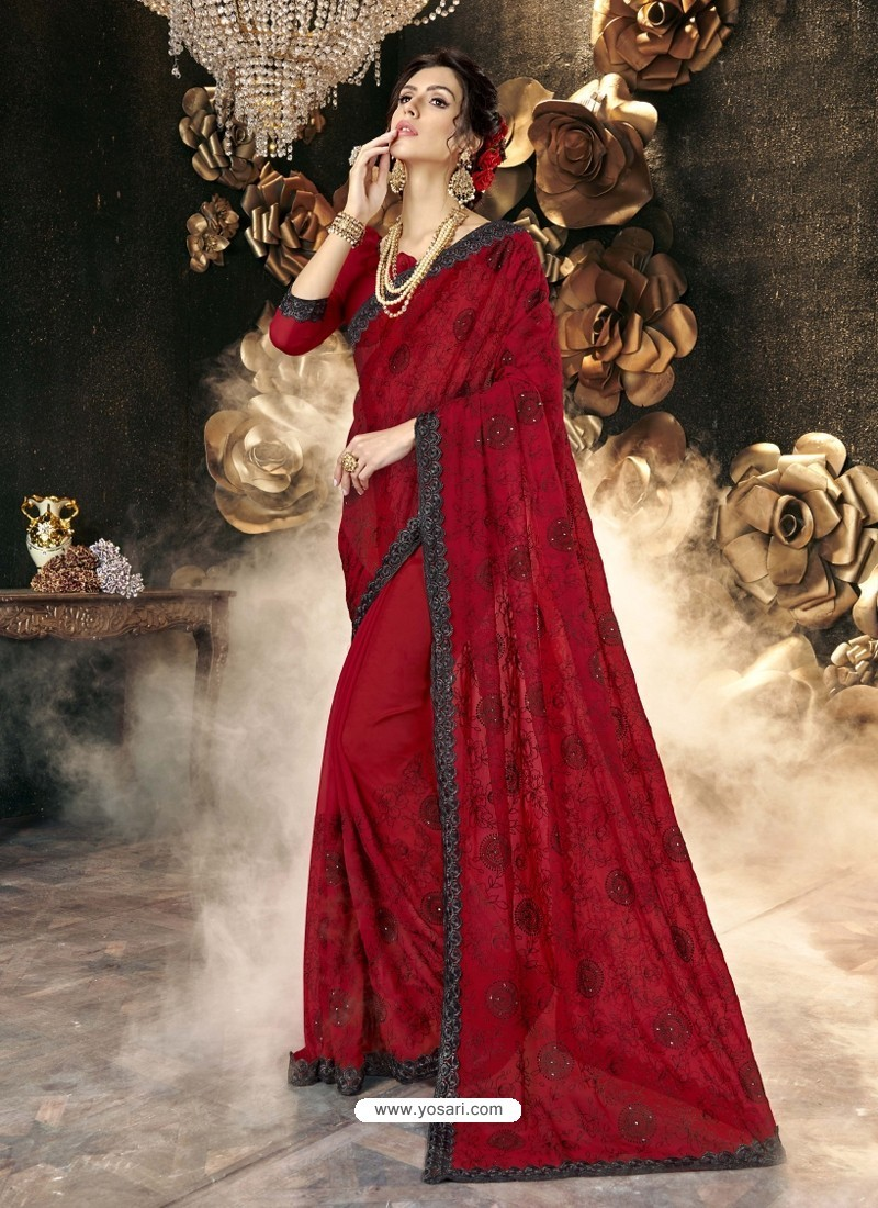 Red Party Wear Designer Georgette Embroidered Sari