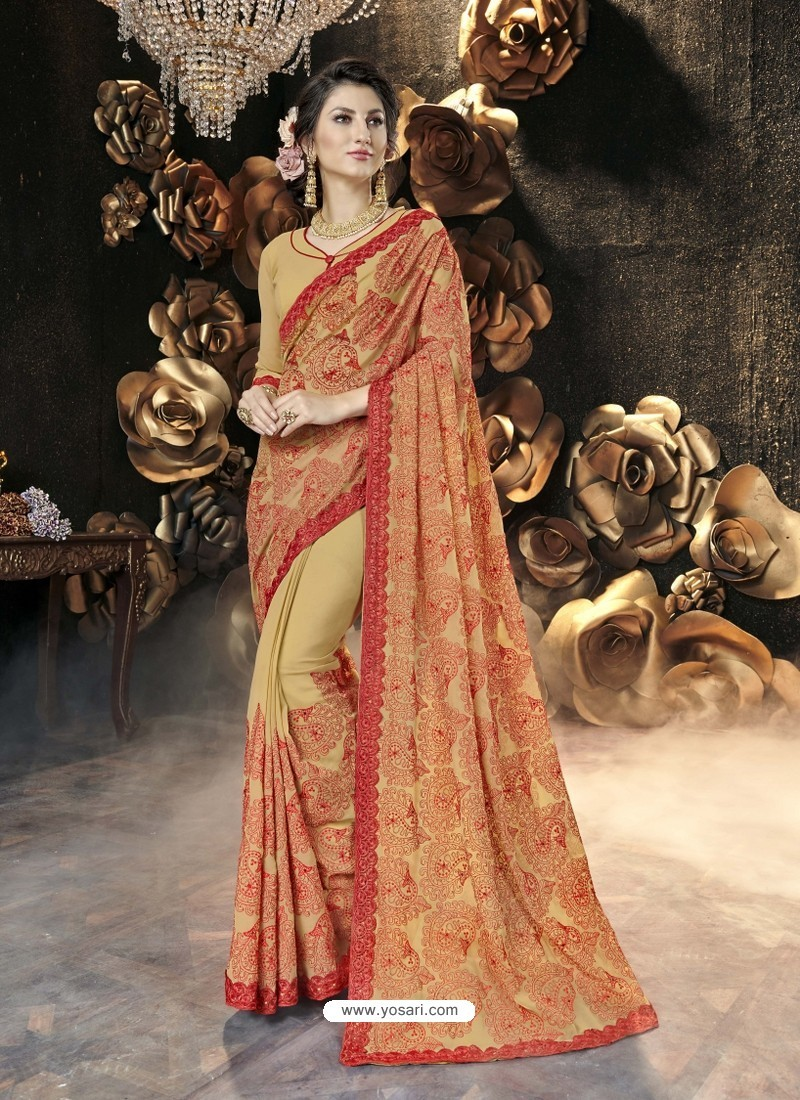 Khaki Party Wear Designer Georgette Embroidered Sari