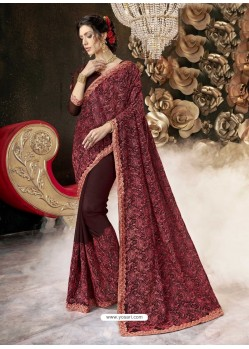 Maroon Party Wear Designer Georgette Embroidered Sari