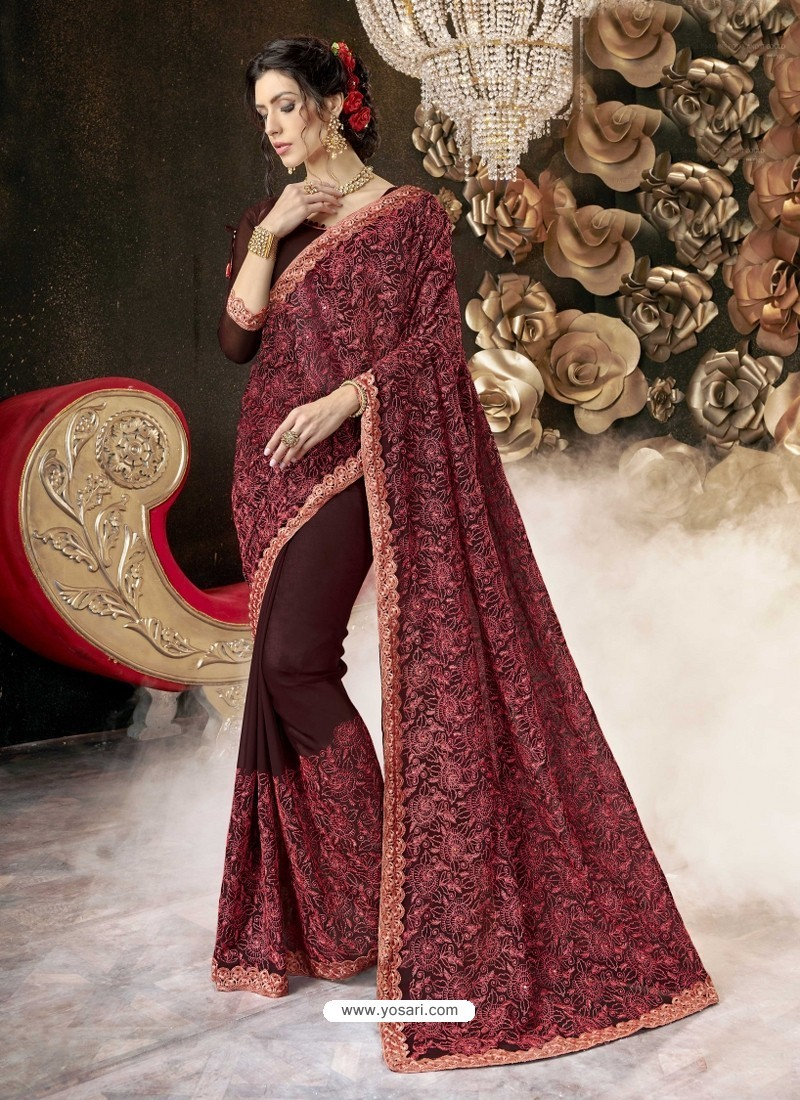 Maroon Party Wear Designer Georgette Embroidered Sari