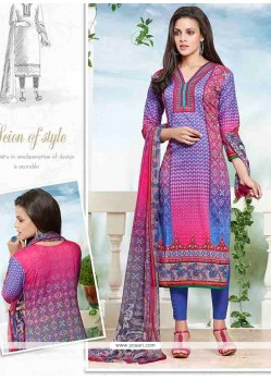 Elite Multi Colour Print Work Churidar Designer Suit