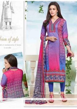 Elite Multi Colour Print Work Churidar Designer Suit