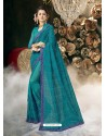 Blue Party Wear Designer Georgette Embroidered Sari