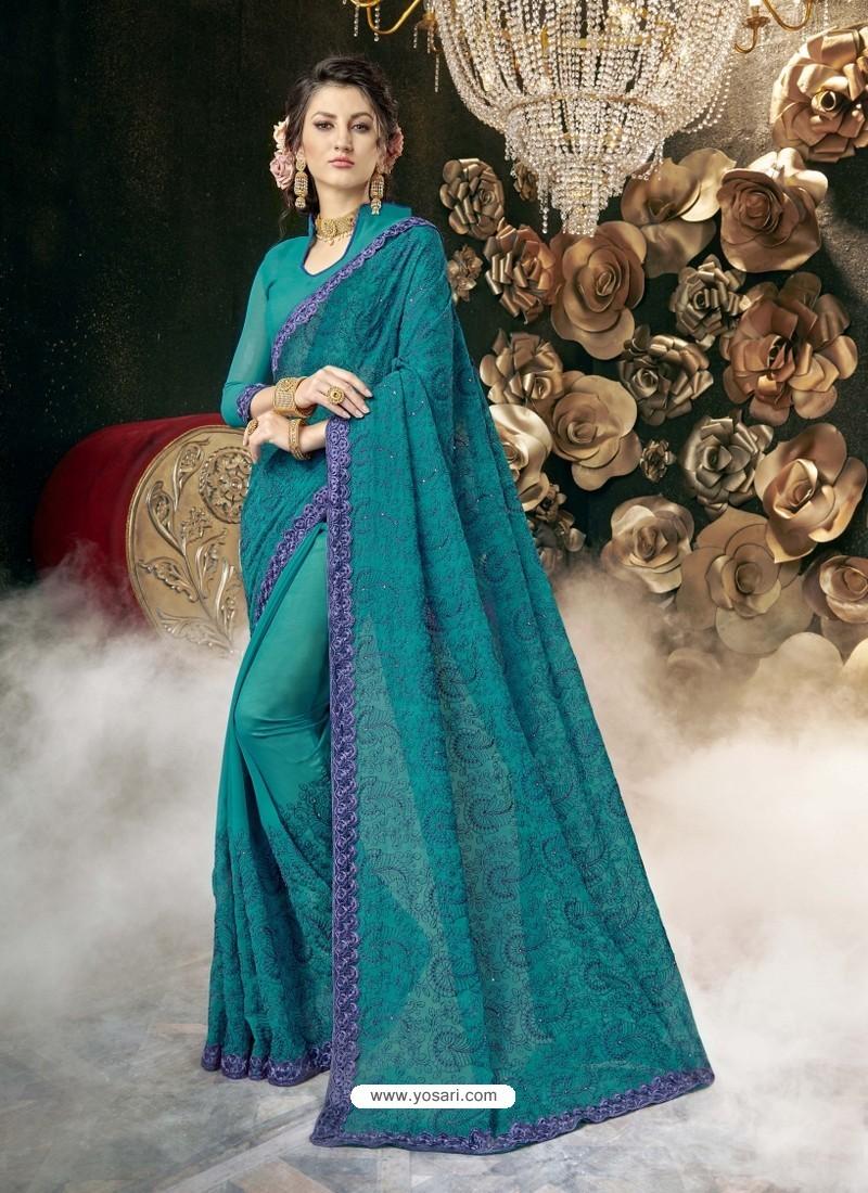 Blue Party Wear Designer Georgette Embroidered Sari