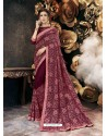 Deep Wine Party Wear Designer Georgette Embroidered Sari