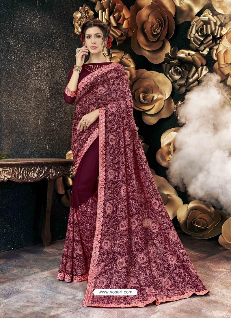 Deep Wine Party Wear Designer Georgette Embroidered Sari
