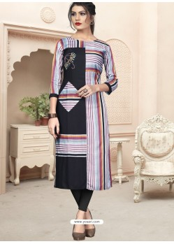 Black Designer Embroidered Party Wear Cotton Kurti