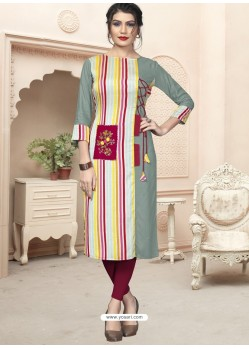 Multi Colour Designer Embroidered Party Wear Cotton Kurti