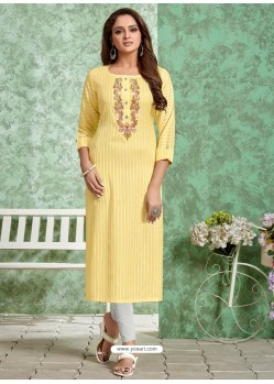 Lemon Designer Embroidered Party Wear Rayon Kurti