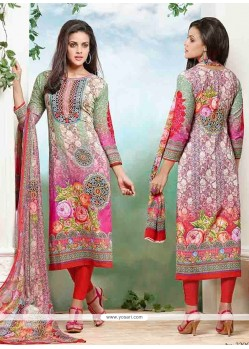 Honourable Print Work Cotton Churidar Designer Suit