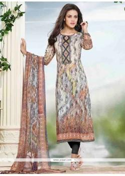 Sumptuous Cotton Print Work Churidar Designer Suit