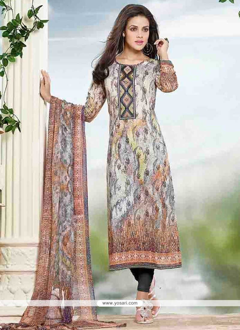 Sumptuous Cotton Print Work Churidar Designer Suit