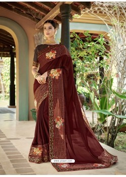 Maroon Latest Designer Casual Wear Fancy Fabric Sari
