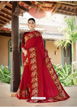 Red Latest Designer Casual Wear Fancy Fabric Sari