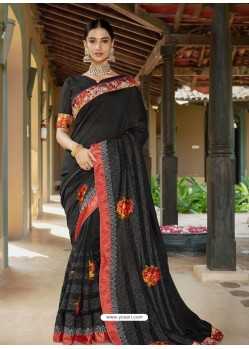 Black Latest Designer Casual Wear Fancy Fabric Sari