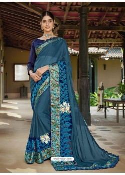 Teal Latest Designer Casual Wear Fancy Fabric Sari