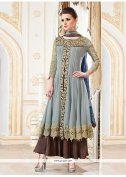 Exciting Grey Resham Work Designer Palazzo Salwar Suit