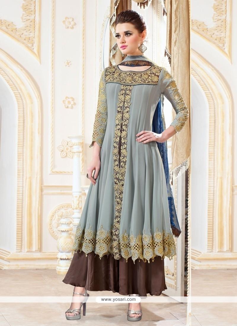 Exciting Grey Resham Work Designer Palazzo Salwar Suit