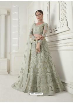Olive Green Heavy Embroidered Designer Net Wedding Lehenga Choli