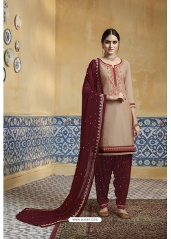 Beige Pure Satin Embroidered Salwar Suit
