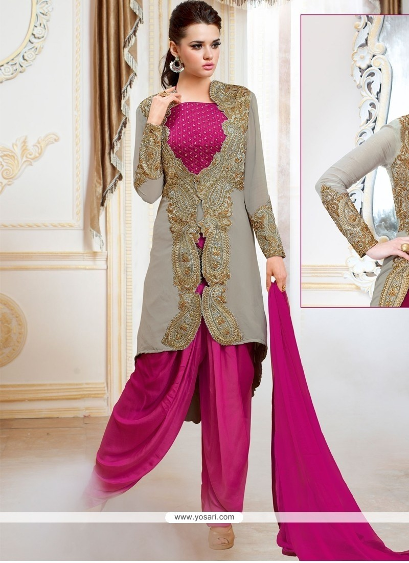 Staggering Satin Embroidered Work Designer Patiala Salwar Kameez