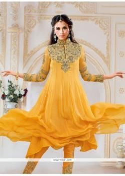 Glowing Embroidered Work Yellow Anarkali Salwar Kameez