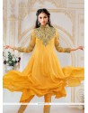 Glowing Embroidered Work Yellow Anarkali Salwar Kameez