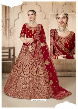 Stylish Maroon Heavy Velvet Designer Hand Worked Lehenga Choli