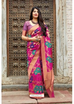Medium Violet Banarasi Silk Designer Jacquard Worked Saree