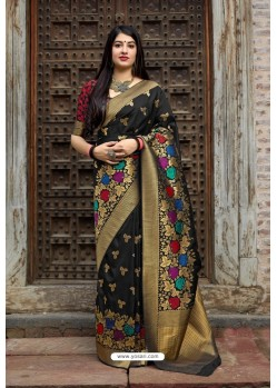 Black Banarasi Silk Designer Jacquard Worked Saree