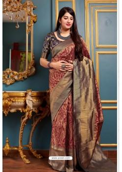 Maroon Banarasi Silk Designer Jacquard Worked Saree
