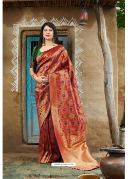Red Banarasi Silk Designer Jacquard Worked Saree