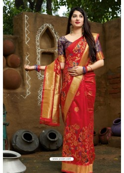 Pretty Red Banarasi Silk Designer Saree