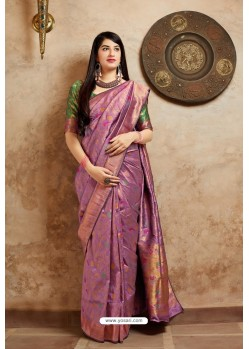 Lavender Banarasi Silk Designer Jacquard Worked Saree