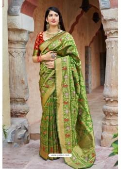 Green Banarasi Silk Designer Jacquard Worked Saree