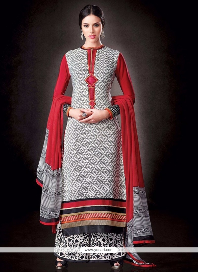 Luxurious Black And Off White Print Work Palazzo Suit