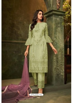 Green Butterfly Net Embroidered Straight Suit