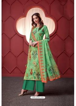 Jade Green Pure Ikat Silk Digital Printed Palazzo Suit