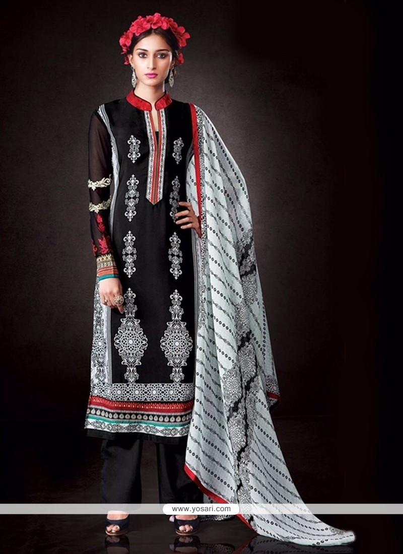Gilded Black Print Work Designer Pakistani Suit